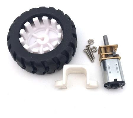 Kit Motor N20 Con Rueda 43mm Y Soporte 20 Rpm